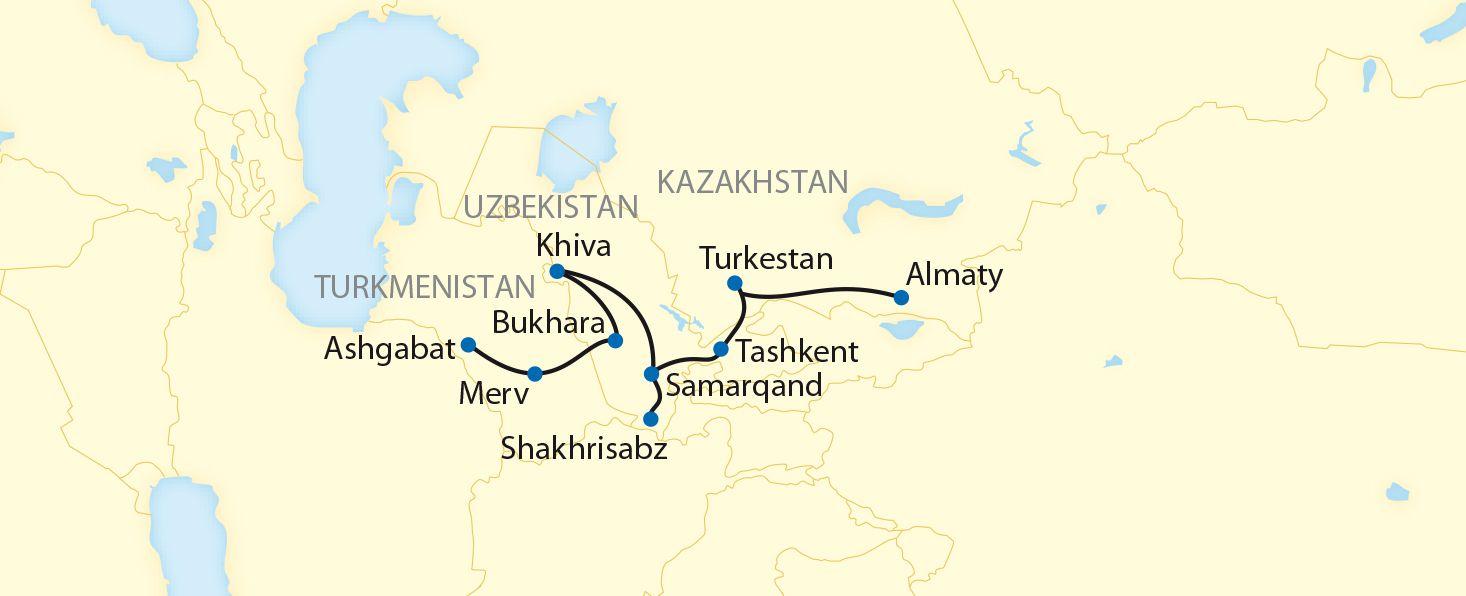 The Legendary Silk Road By Private Train Route Map Almaty Turkestan Tashkent Shakhrisabz Samarqand Khiva Bukhara Merv Ashgabat Treinreizen