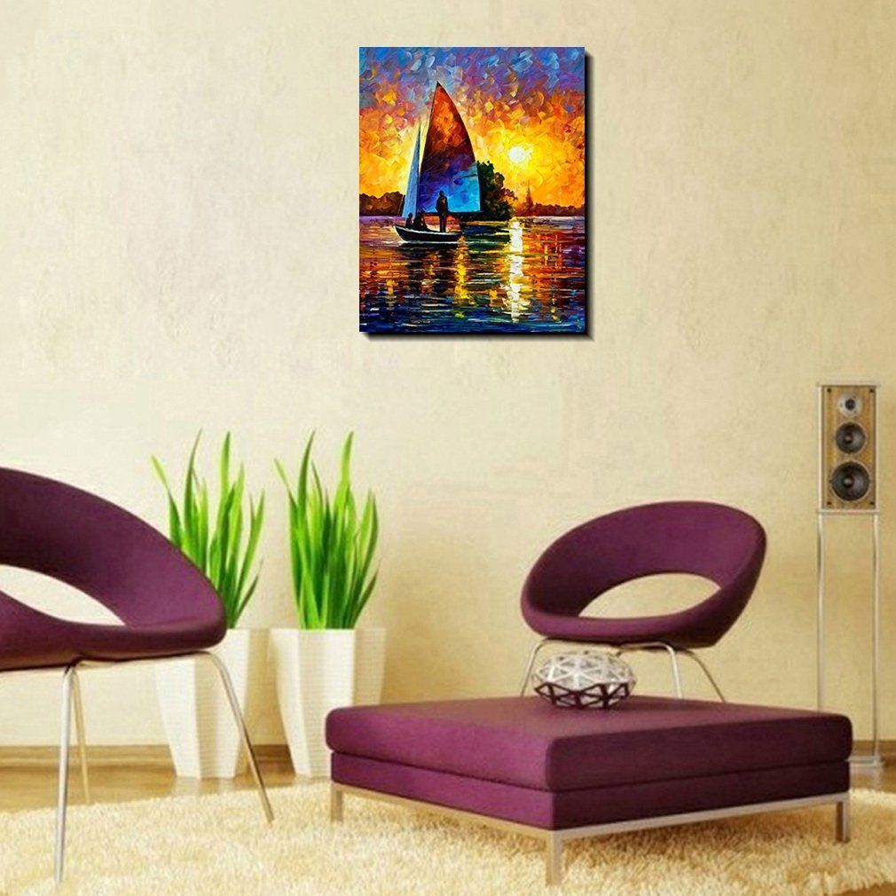 Oil paintings on canvas calm dusk view sunset over the lake wall art