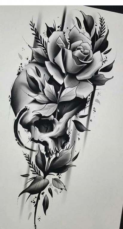 Tattoo Rose Black Drawing 56+ Best Ideas #drawing #tattoo (With images) | Skull rose tattoos ...