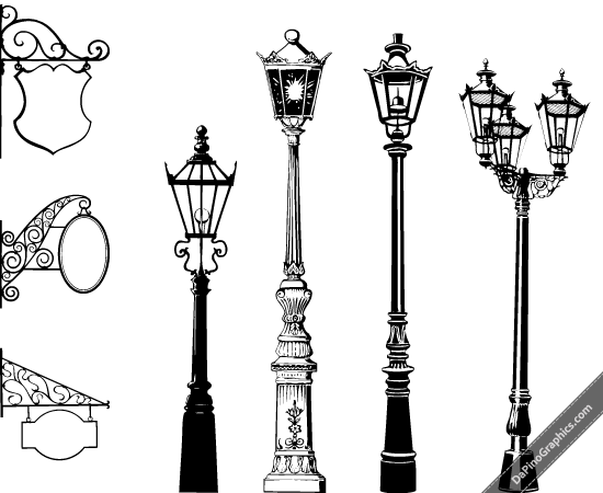 Vintage Street Lights Signs Street Light Victorian Street Street Lamp