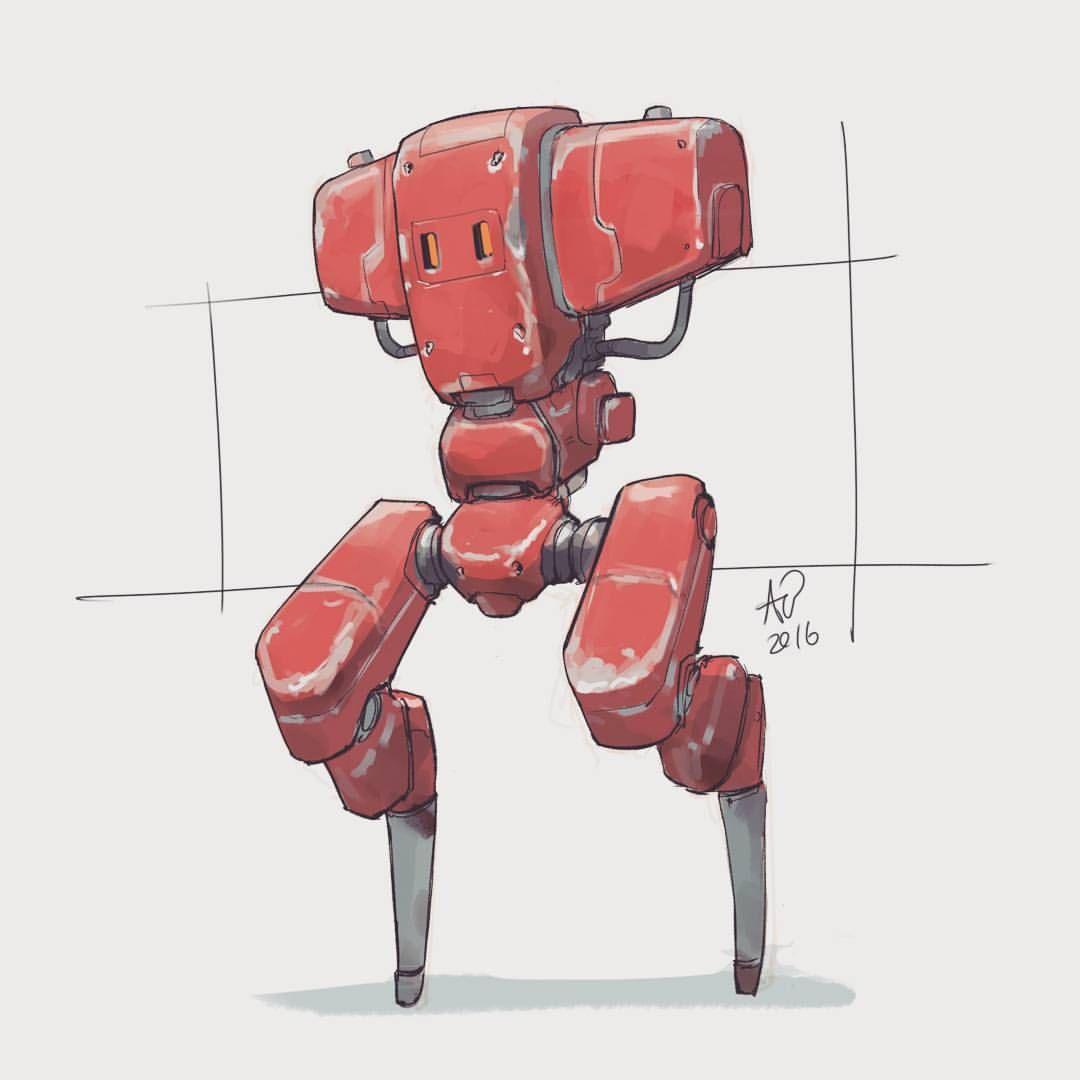 186 2016 Beaten Up Red Mech Mecha Robot Sketch Quicksketch