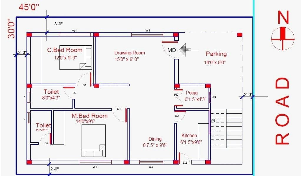 House Plan Indian House Plans 2bhk House Plan 30x40 House Plans