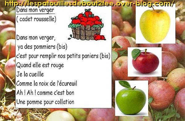 Dans mon verger ecole fruit kindergarten et songs to sing - Fruits automne maternelle ...