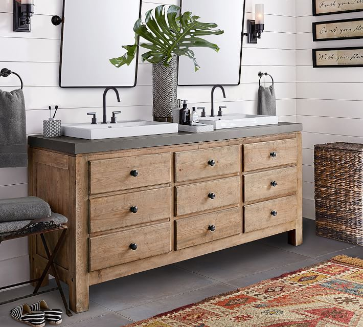 Mason Double Sink Vanity Wax Pine Bathrooms Pinterest Double