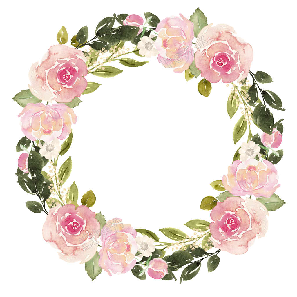 Watercolor flower wreath free matting vector Watercolor