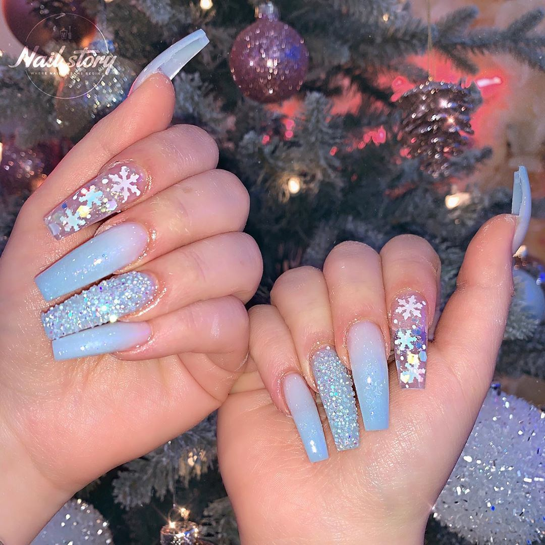 Nail Story Of Chino Hills On Instagram Sleigh Me Sparkly Baby Blue Ombre Baby Blue Nails Baby Blue Acrylic Nails Clear Acrylic Nails