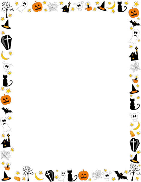 Halloween border featuring jack-o-lanterns, ghosts, spooky trees ...