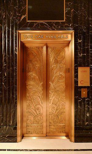 Art Deco Jumeirah Essex House Hotel Elevator, New York ...