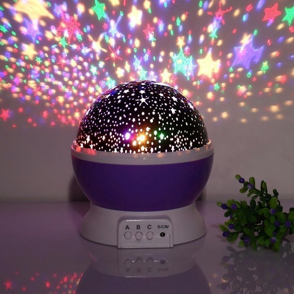 Night Lights For Children Rotation Night Projection Lamp For Kids Children  Bedroom Bed Christmas Purple