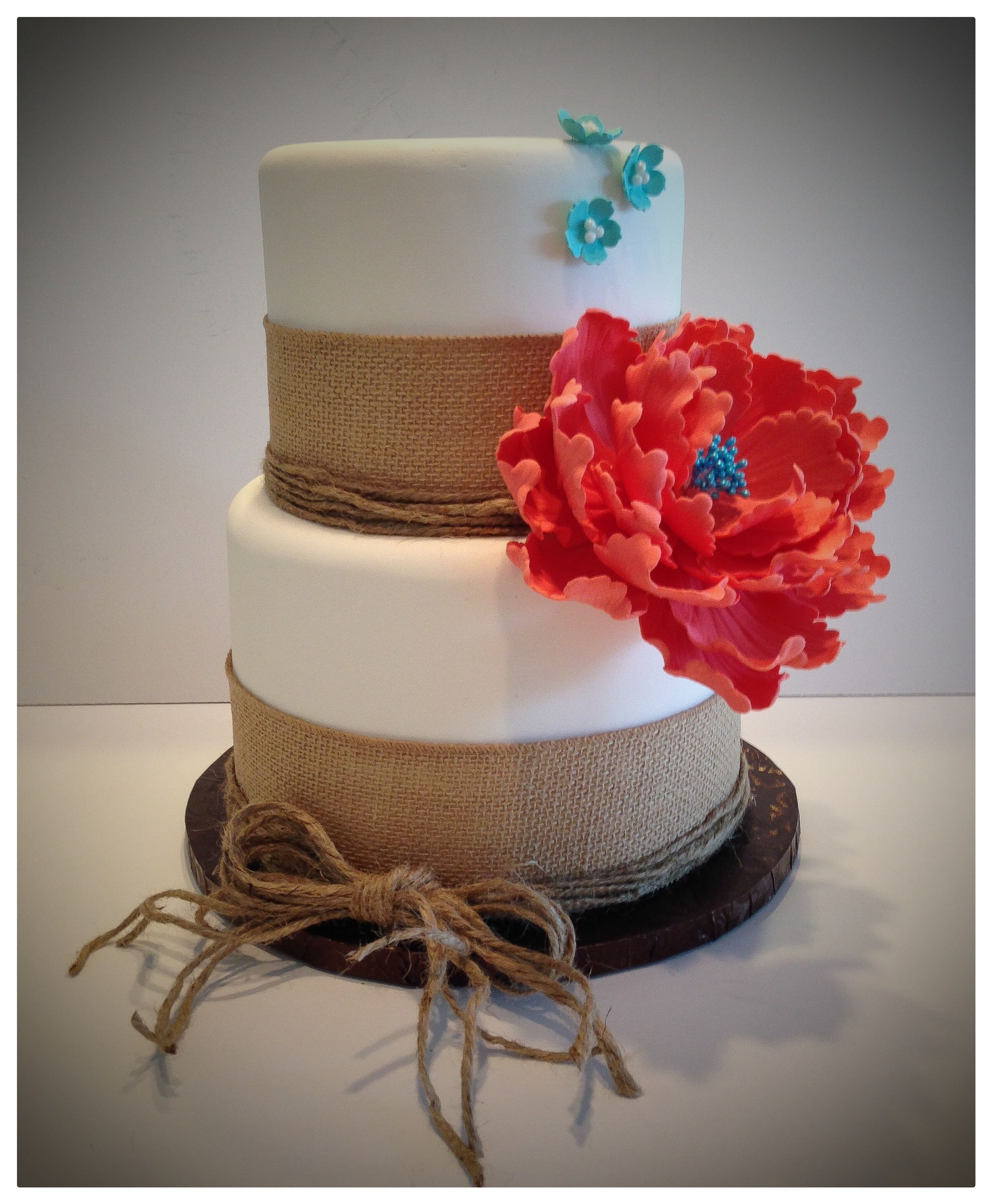 Rustic Burlap Coral And Turquoise Wedding Cake
