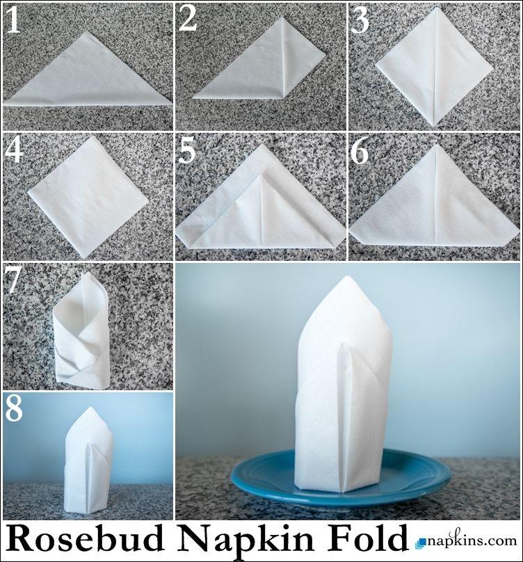 Rosebud Napkin Fold #diynapkinfolding