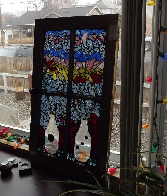 Flower Wall Decor Reversible Mosaic With Chalkboard: Mosaic Window Vases And Flowers, Stained Glass Window