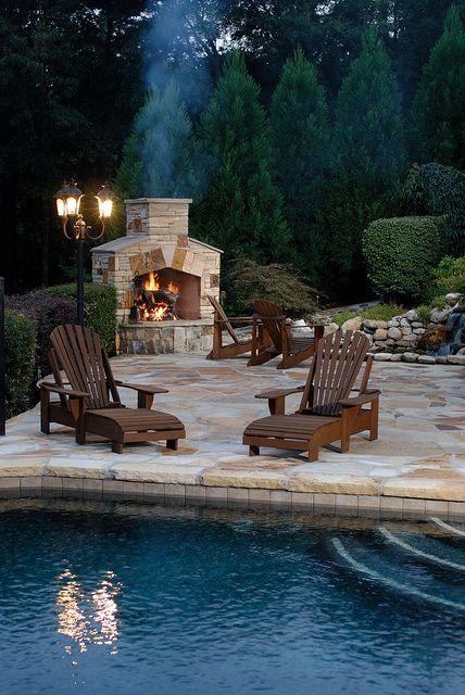 15 Outdoor Stone Fireplaces to Love | Backyard, Backyard fireplace ...