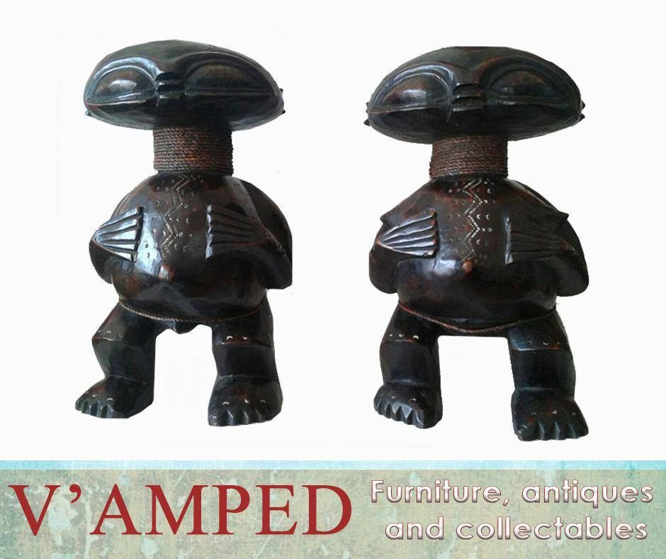 Get This Lovely 50cm Tall Hand Carved Pygmy Man And Woman