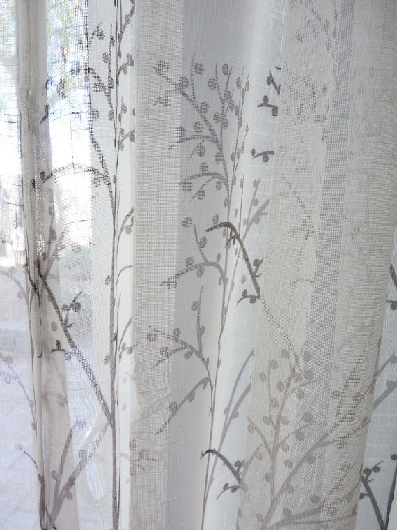Off White Sheer Curtain Voile Panel With Printed Tree Pattern One