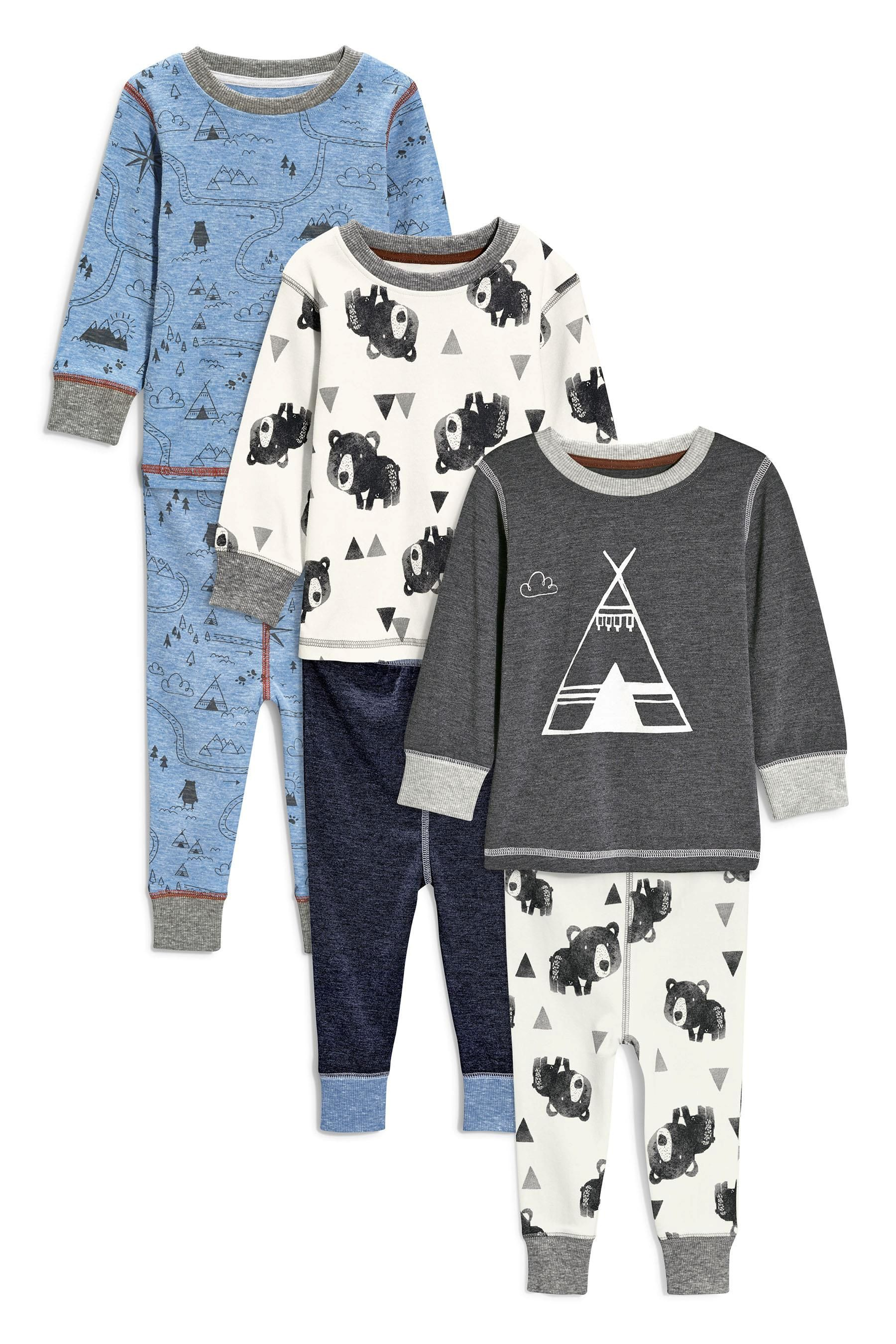 899bb89a2 Buy Three Pack Teepee Bear Snuggle Fit Pyjamas (9mths-8yrs) from the Next  UK online shop
