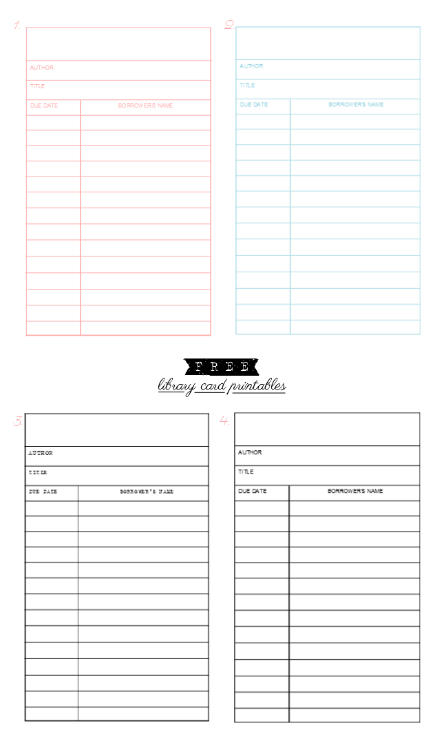 free library card printables available in different colors