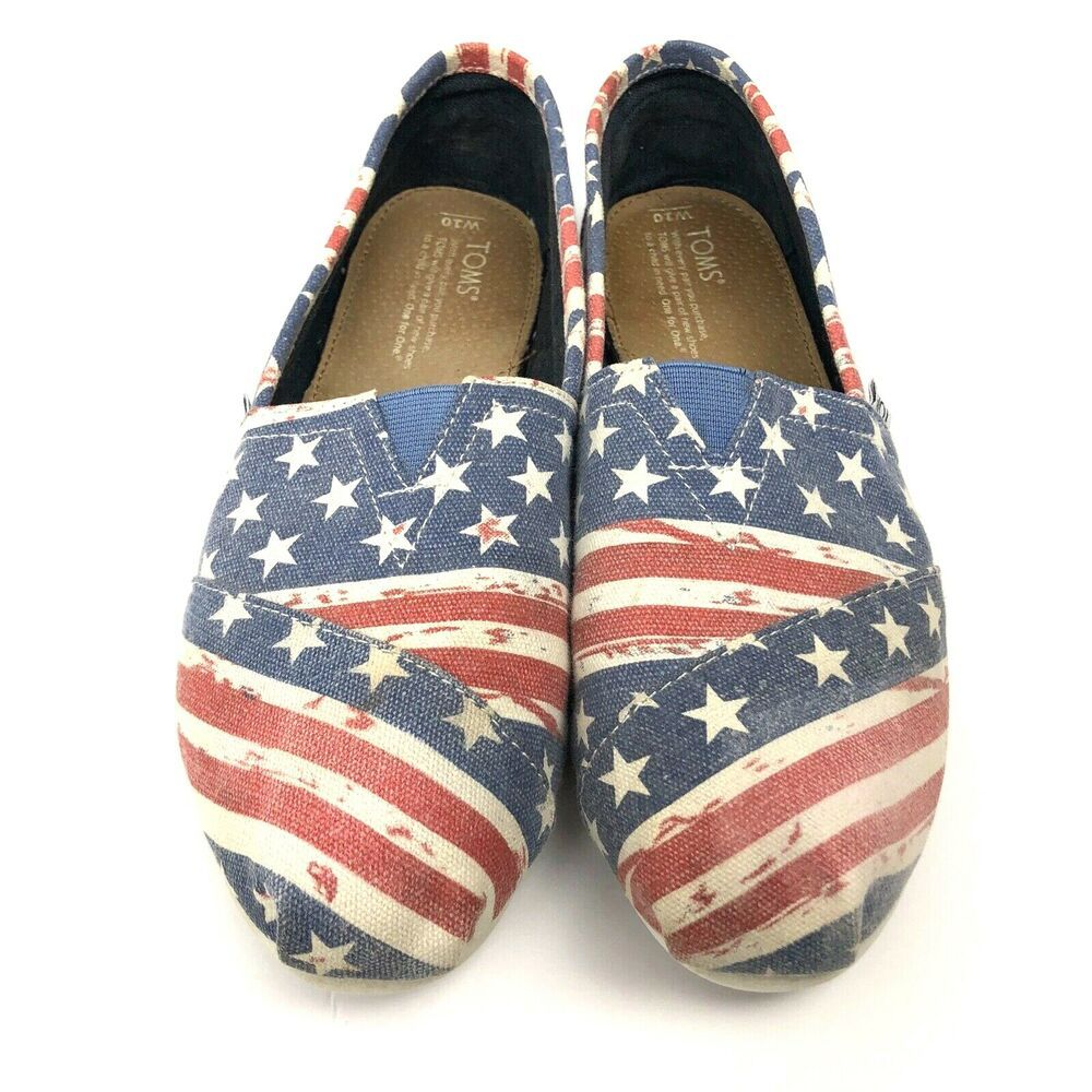 Ebay Advertisement Toms Womens Usa American Flag Patriotic Slip On Canvas Flats Shoes Size 10 Canvas Flat Shoes Patriotic Sneakers Canvas Flats