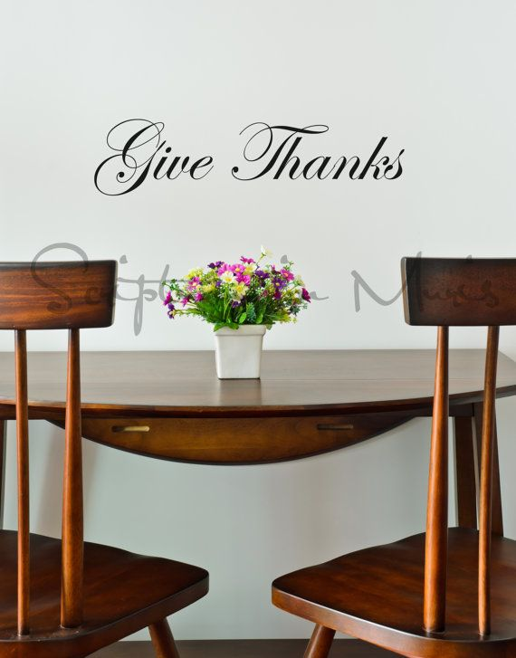 Doors Give Thanks Decal On Etsy Dining Room Wall Decor