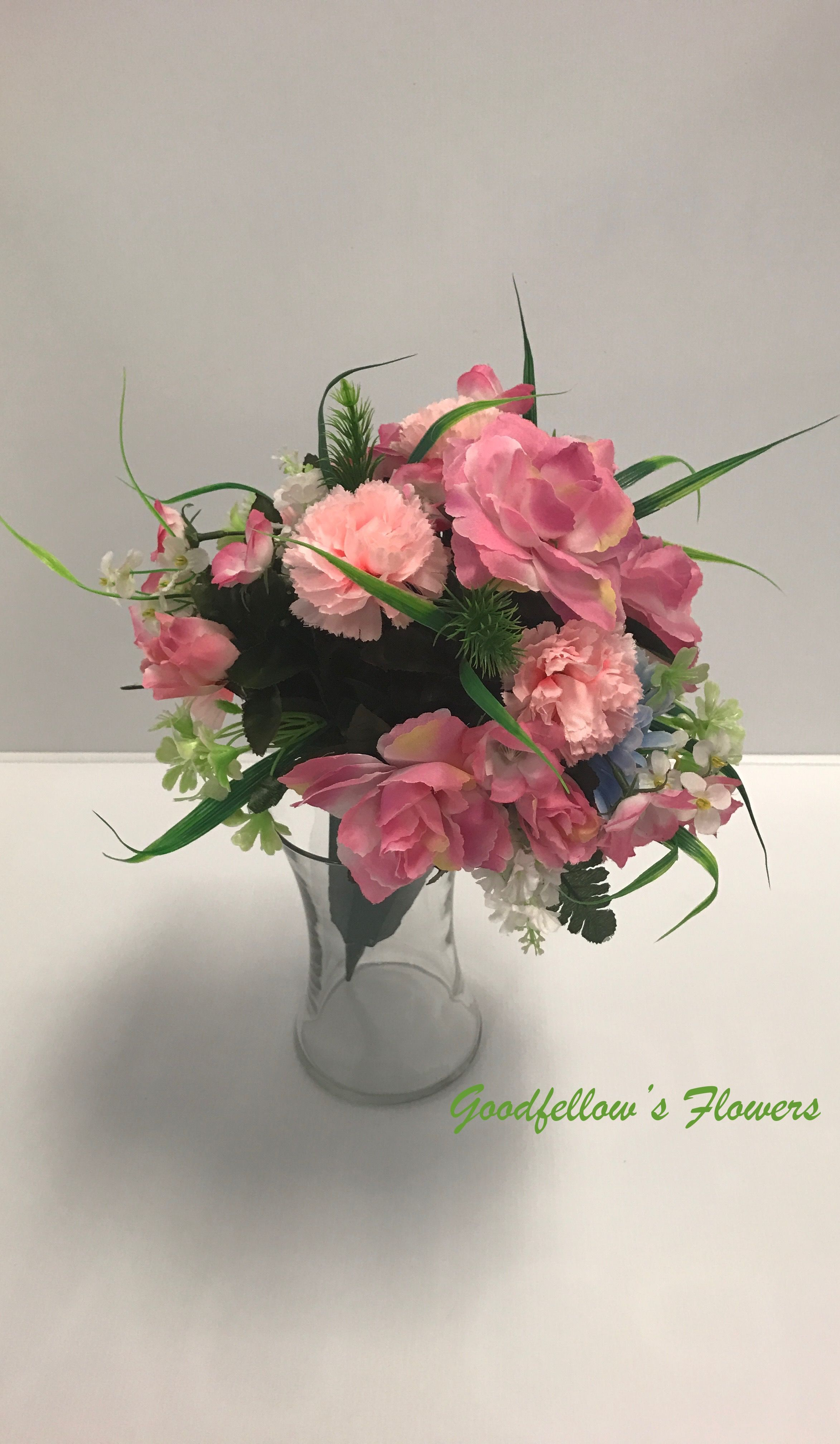 Faux Silk Pink Cemetery Bouquet Tombstone Bouquet Roses