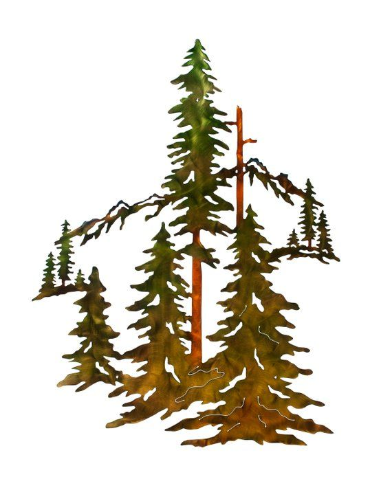 Pine Trees Forest And Mountain Scene Metal Wall Art Home Decor