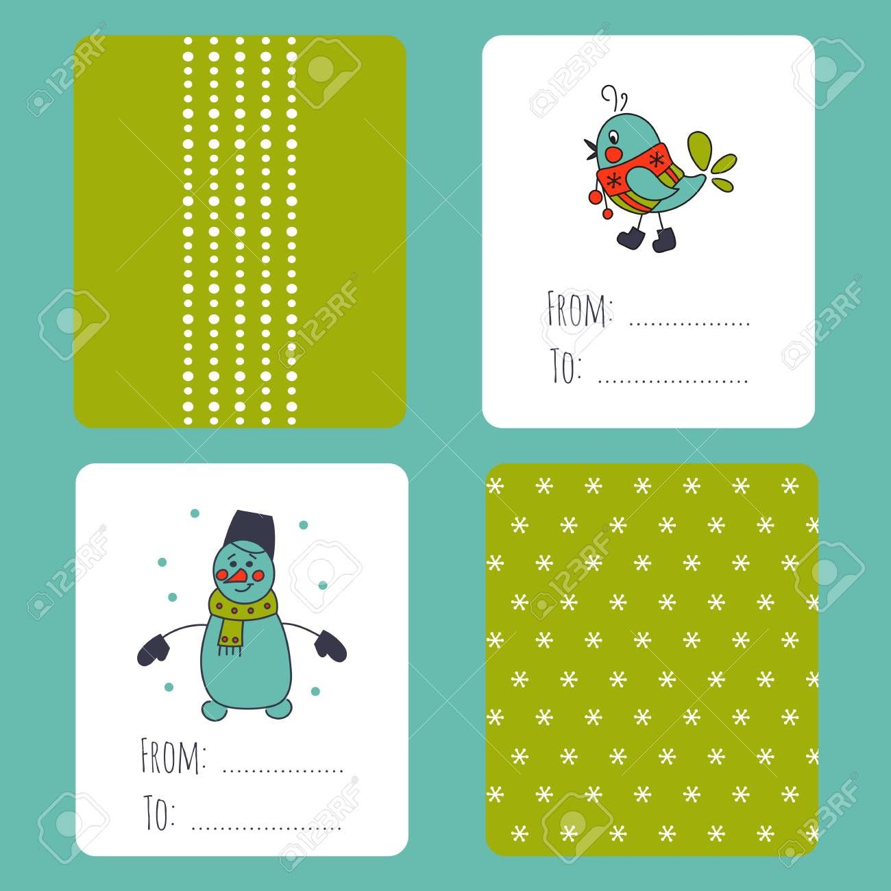 Set Of Winter Small Card Templates Collection For Christmas With Small Greeting Card Template Greeting Card Template Printable Greeting Cards Small Cards