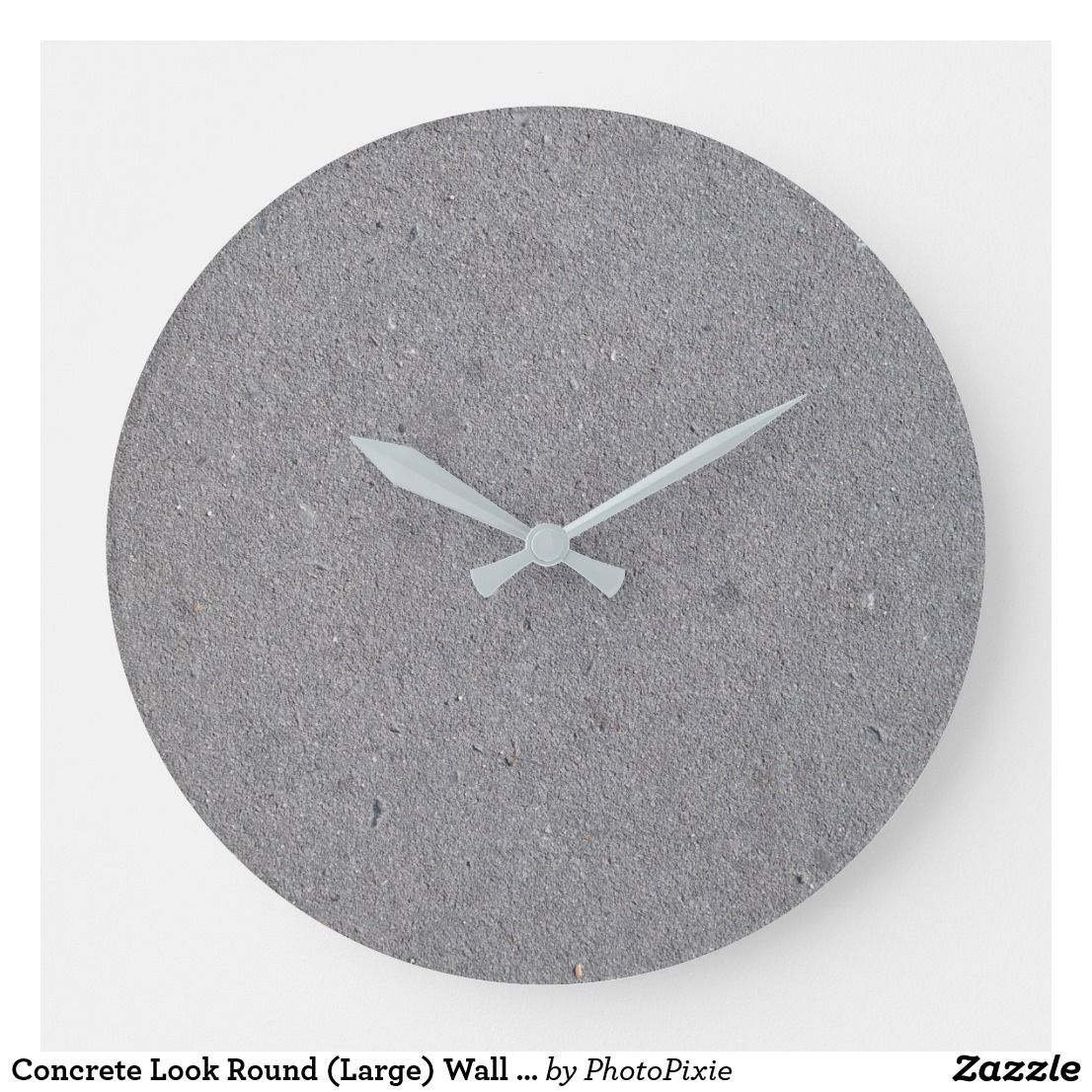Concrete Look Round Large Wall Clock Zazzle Com In 2020 Large Wall Clock Wall Clock Clock