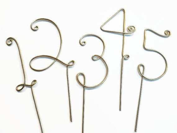 Wire table numbers for wedding or party centerpiece cake topper wire table numbers for wedding or party centerpiece cake topper silver gold red black brown copper rose greentooth Image collections
