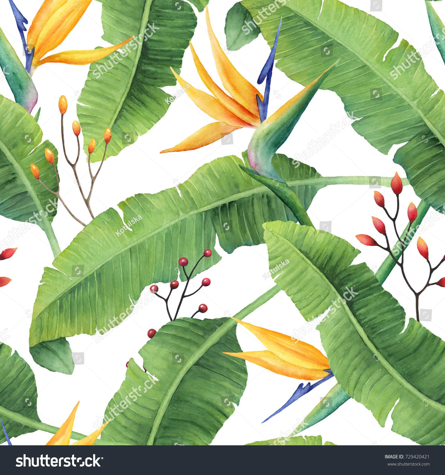 Hand Painted Watercolor Banana Leaves Pattern With Bird Of Paradise