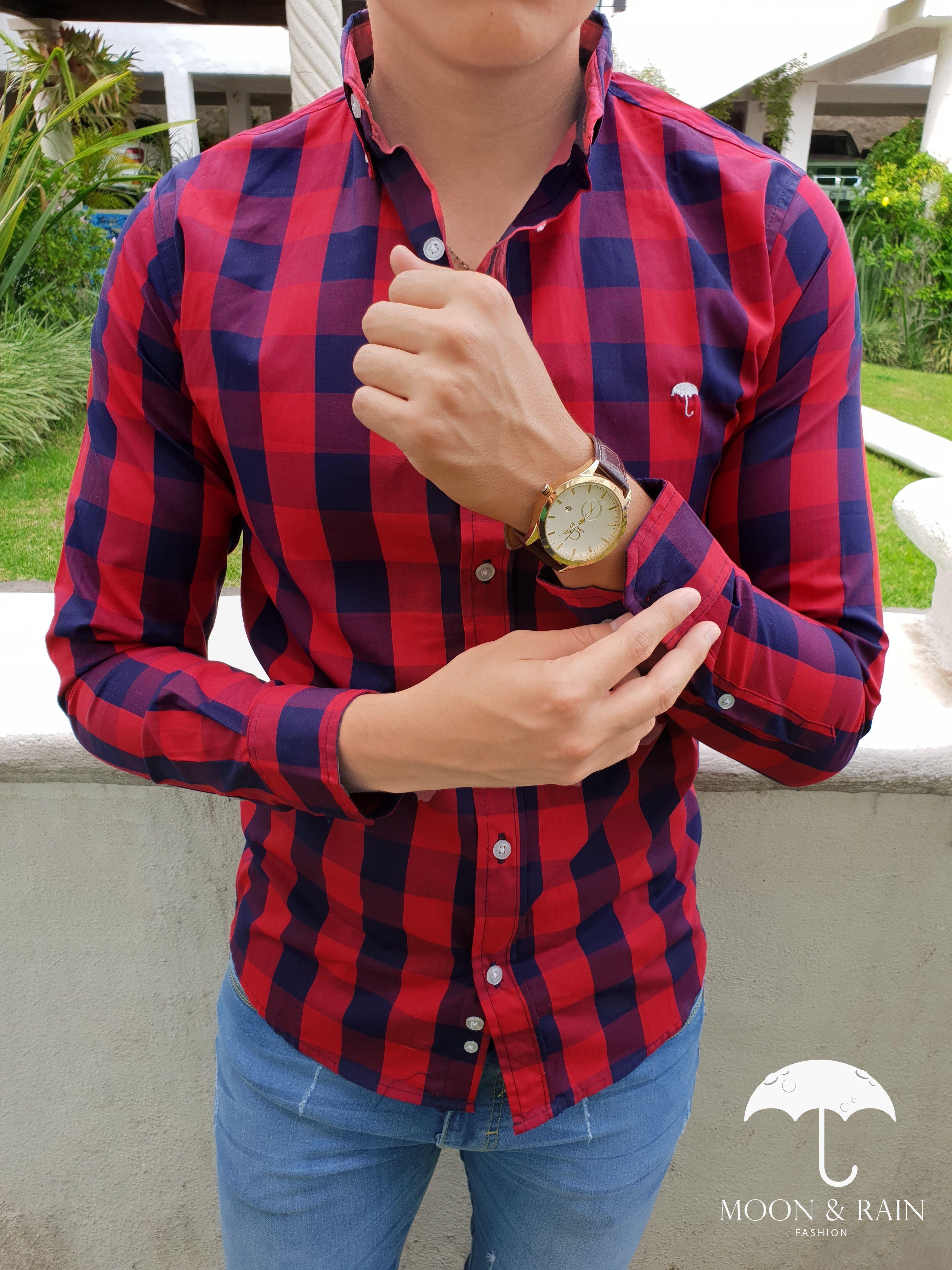 Outfit para hombre  camisa de cuadros marino y rojo en manga larga ... 8d8b5f6863fa