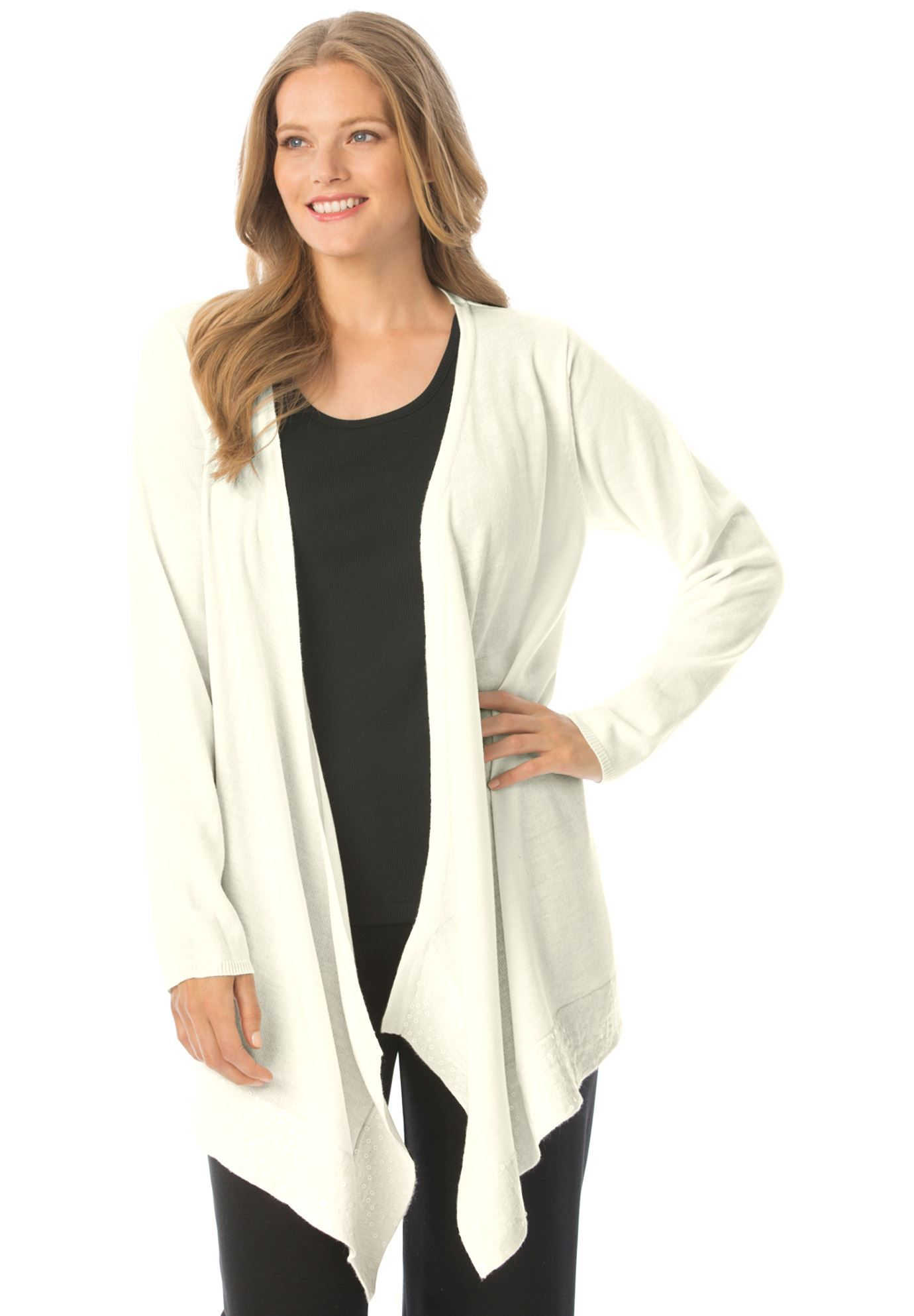 Plus Size Cascade front cardigan sweater with sequins | All my ...