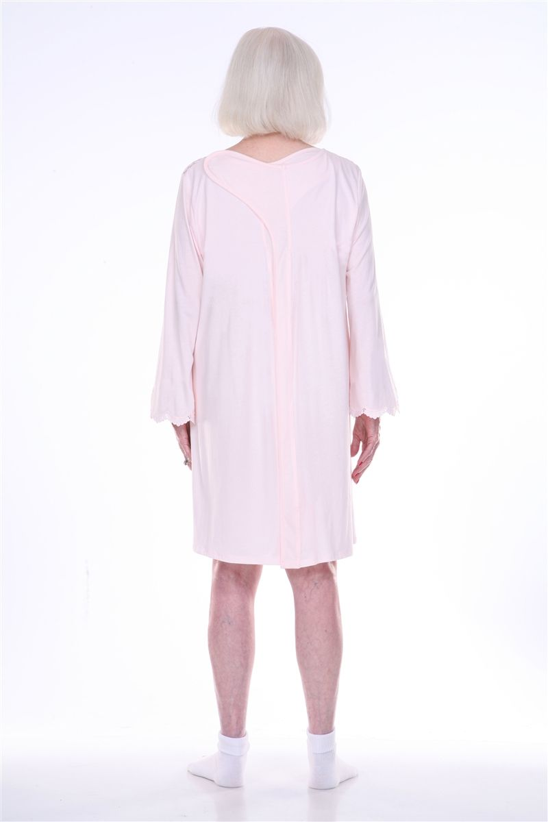 These100% cotton knit hospice nightgowns feature fully open back designs  with Velcro closures for easily dressing elderly bedridden and wheelchair  bound 0c779b8b75b7