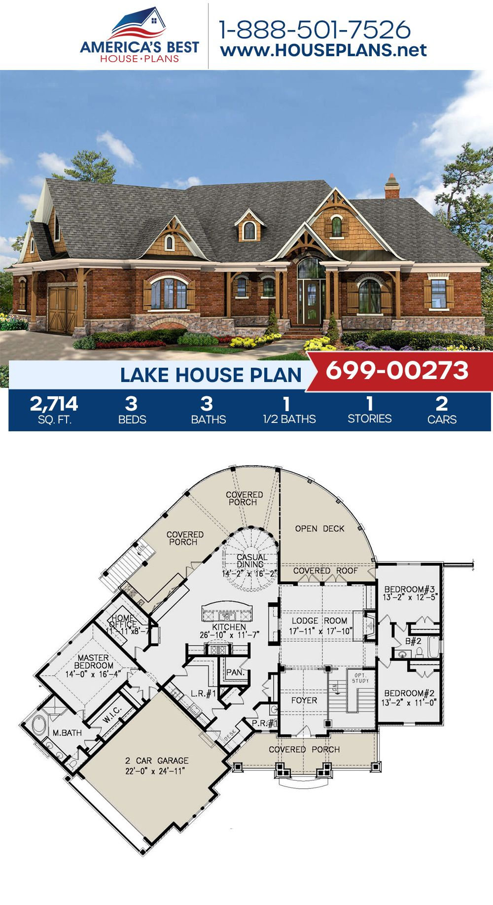 House Plan 699 00273 Lake Front Plan 2 714 Square Feet 3 Bedrooms 3 5 Bathrooms Lake House Plans House Plans Lake House