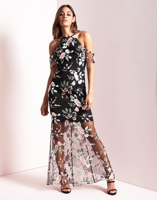 9e96e797813 Lipsy Floral Embroidered High Neck Maxi Dress