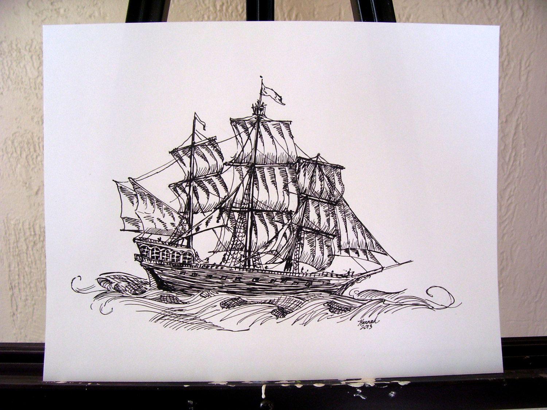 original ink drawing sailing ship pirate ship via etsy