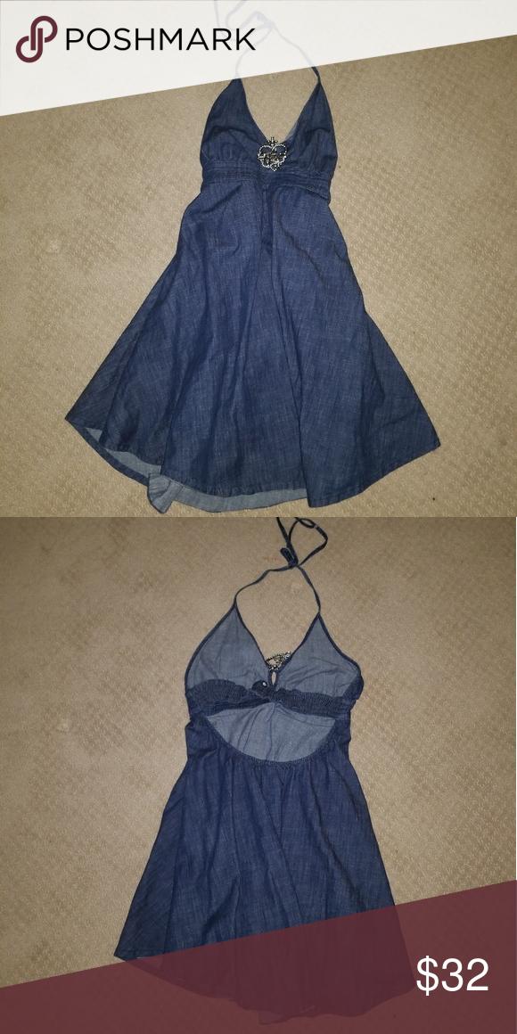 Blue Jean Halter Top Dress Blue Jean