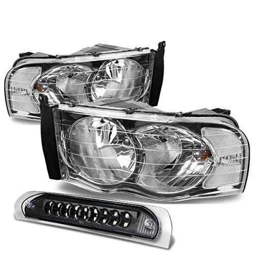 Dodge Ram Chrome Housing HeadlightBlack Lens LED 3rd Brake Light 3rd