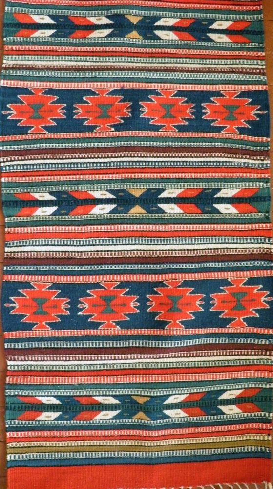 Zapotec Native Mexican 100 Wool Hand Woven Geometric