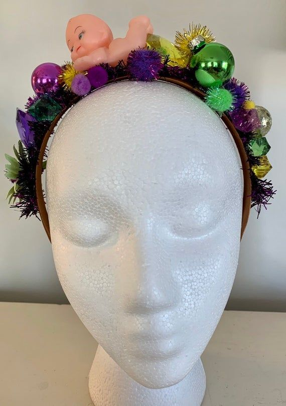 One of a kind, handmade Mardi Gras crown headband. Fully finished on both sides so you'll look good coming or going. #crownheadband