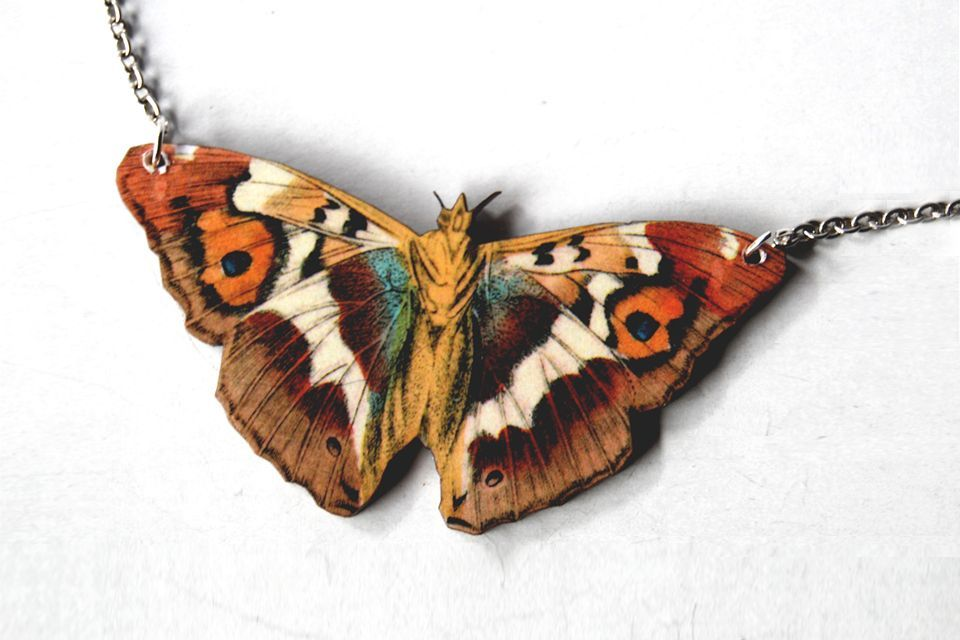 Purple Emperor Butterfly Necklace