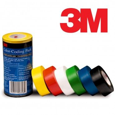 6 Rolls 3M Vinyl Color-Coding Tape - Bright, Durable, Flexible