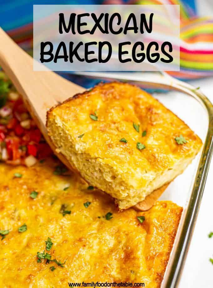 Mexican baked eggs Cheesy Mexican baked eggs with green chilies are perfect for brunch and meal prep and make mornings so easy! Slice into squares and enjoy with your favorite toppings or use to make breakfast sandwiches!