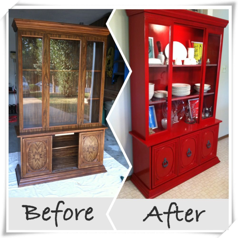 Refinish an old hutch painted red my pinterest for Pinterest painted furniture