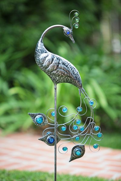 Attractive Peacock Garden Stakes