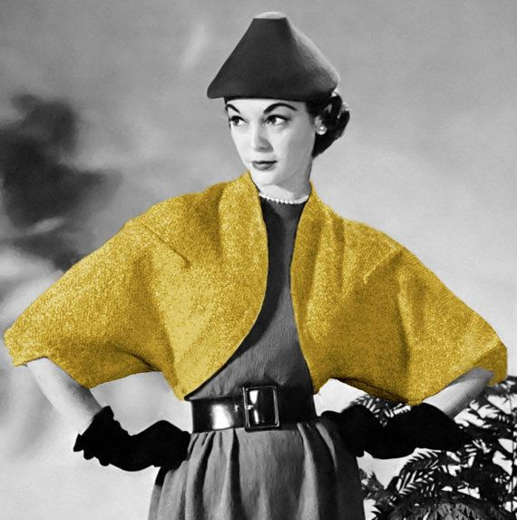 Vintage Knitting Crochet Pattern 1950s Bat Wing Bolero Shrug Digital ...