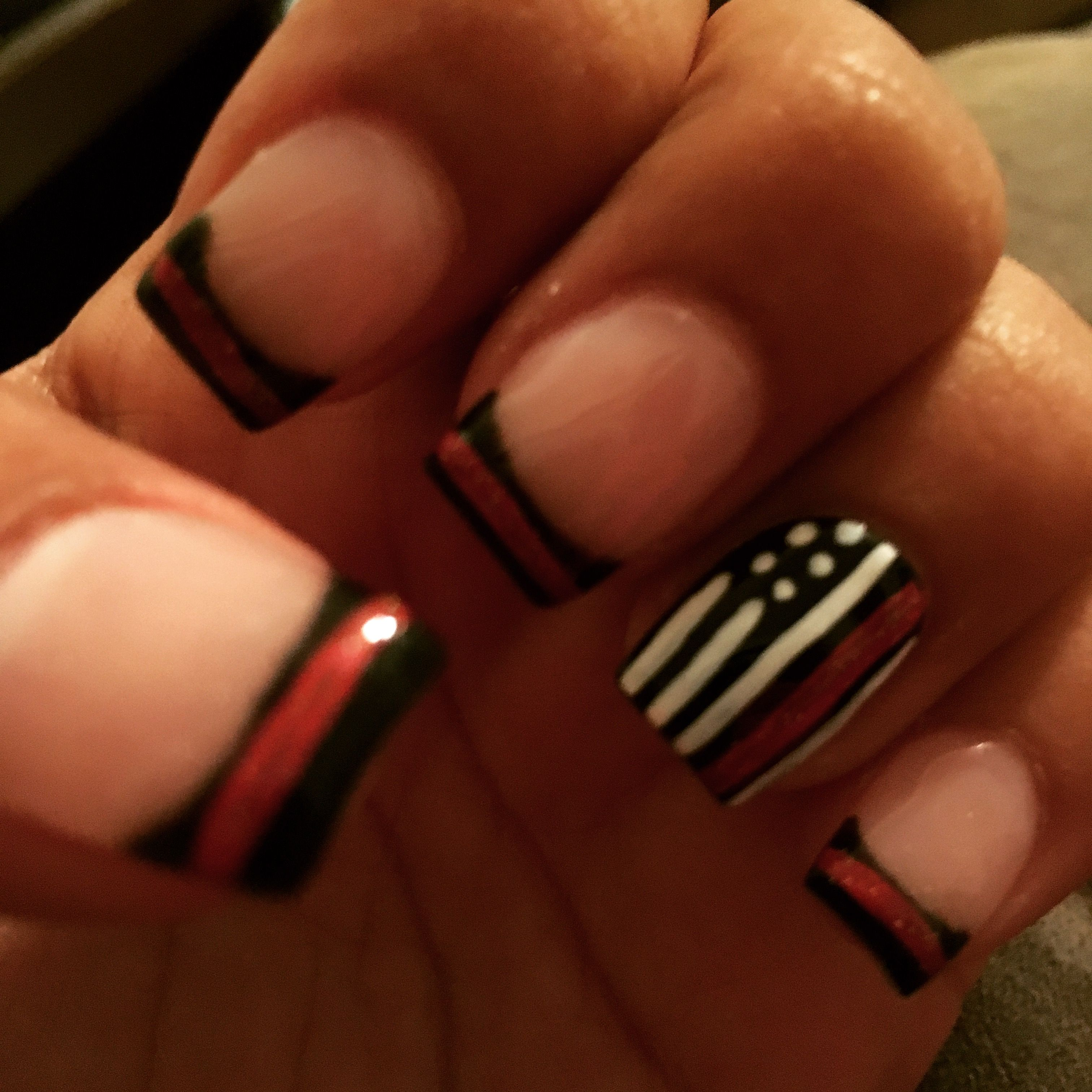 Firefighter red line nails | Nails!!! in 2019 | Lines on
