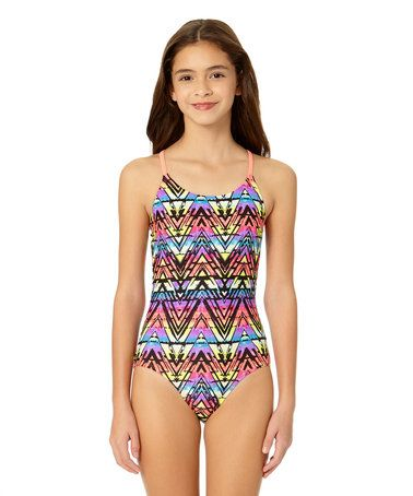 c010da7339d71 Another great find on  zulily! Electric Rainbow Macrame-Back One-Piece  Swimsuit - Girls  zulilyfinds