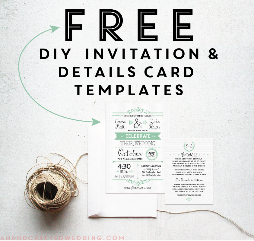 Download These FREE Printable Mint Wedding Invitation And Details Card  Templates! #wedding #printables  Free Invitation Download