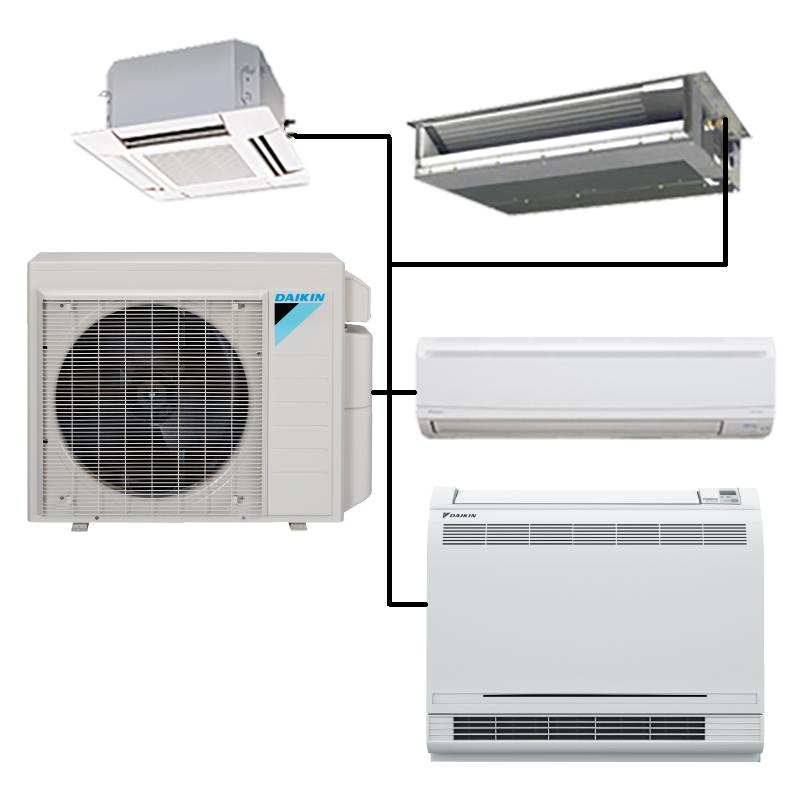 Daikin Custom Multi 2 5 Zone Mini Split Heat Pump Air Conditioner Ductless Mini Split Heat Pump Air Conditioner Split System