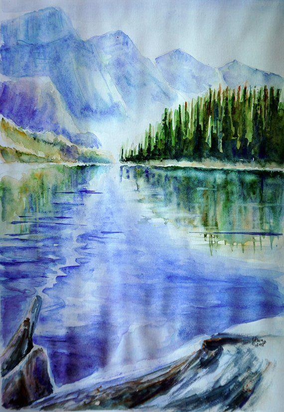 Nature Landscape Original Watercolor Painting Blue Watercolor